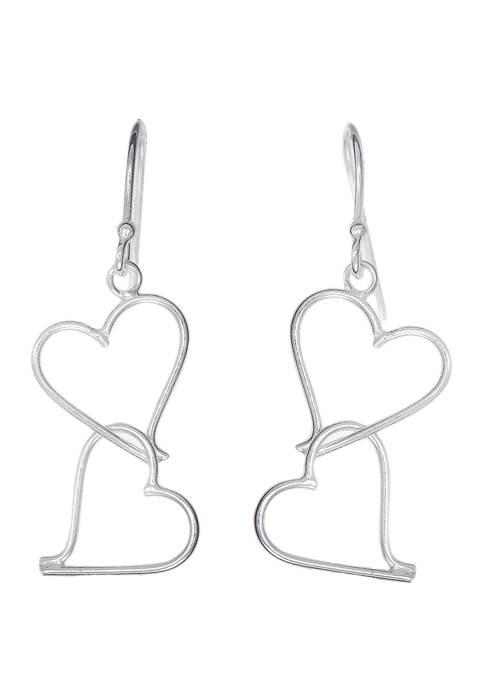 Belk Silverworks Sterling Silver Heart Duo Drop Wire