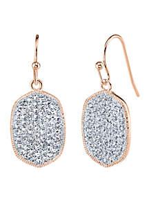 Rose Gold-Tone Crystal Oval Drop Earrings
