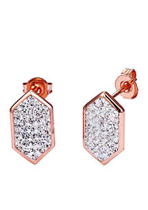 Rose Gold-Tone Crystal Novelty Stud Earrings
