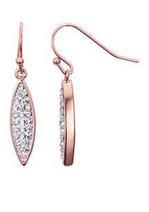 Rose Gold-Tone Crystal Novelty Design Drop Earrings