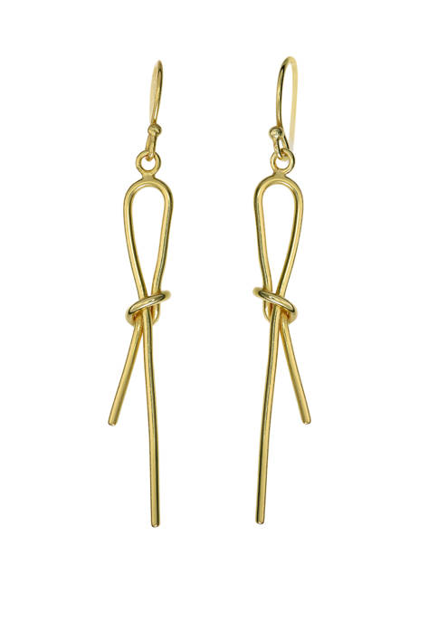 Gold Plated Knot Design Drop Wire Earrings