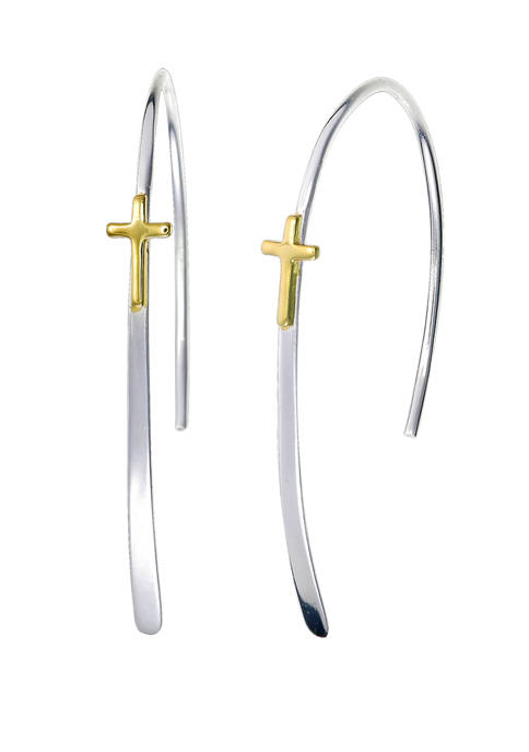 Two Tone Cross Wire Earrings