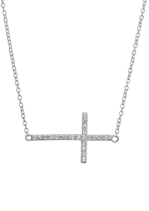 Belk Silverworks Sterling Silver Cubic Zirconia Novelty Cross