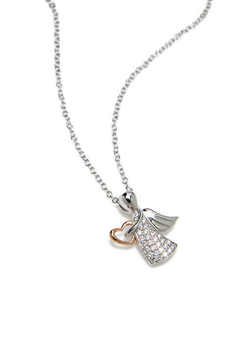 Silver Tone Cubic Zirconia Angel Pendant Necklace