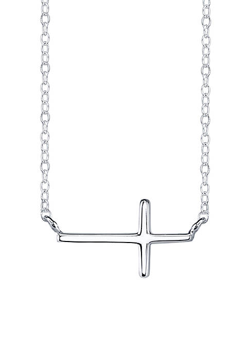 Sterling Silver Sideways Cross Station Necklace View