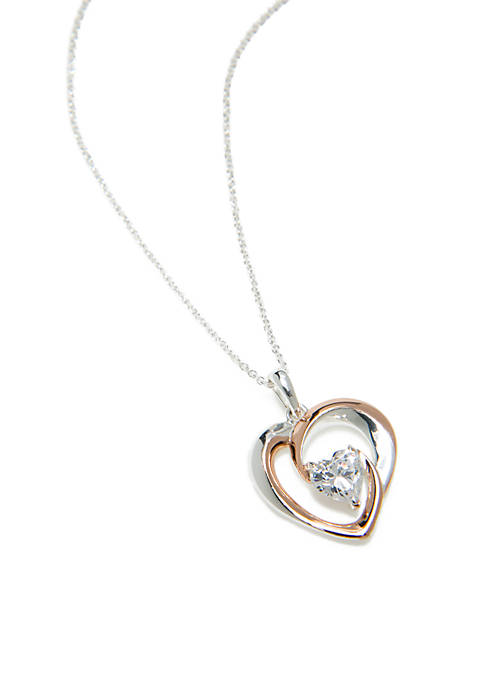 Belk Silverworks Sterling Silver Rose Gold Heart Necklace