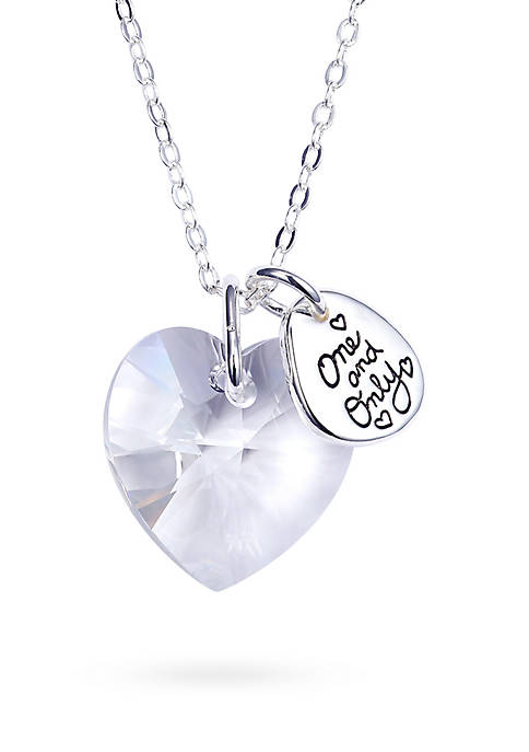 Belk Silverworks Silver-Plated Clear Swarovski Heart One and