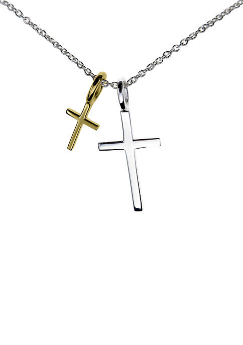 Sterling Silver Gold Two-Tone Cross Pendant Boxed Necklace