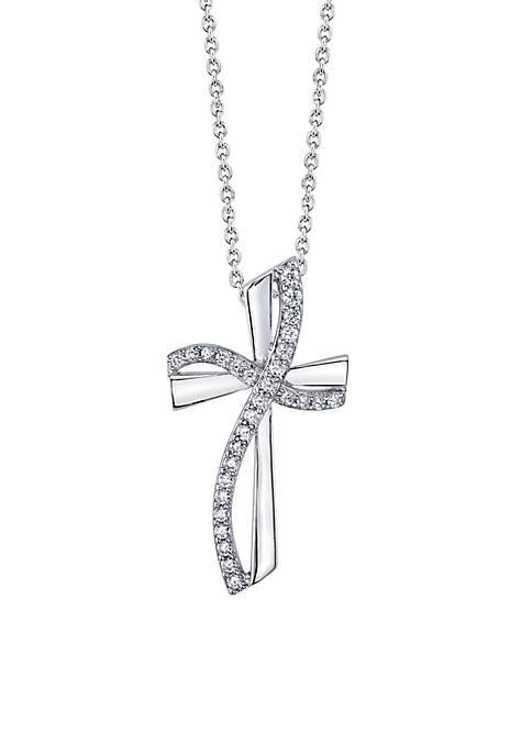 Belk Silverworks Sterling Silver Cubic Zirconia Cross Pendant