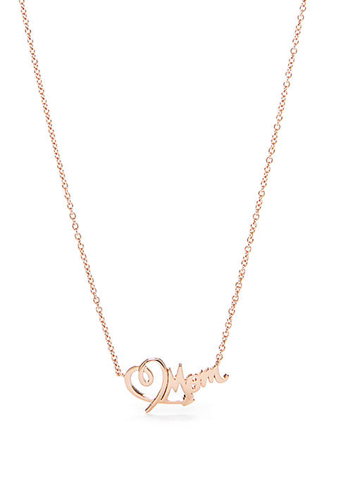 Belk Silverworks Rose Gold-Tone Mom Script Necklace