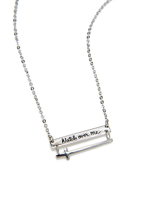 Sterling Silver Watch Over Me Cross Bar Necklace