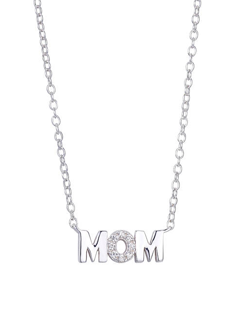 Sterling Silver Mom Block Letter Necklace