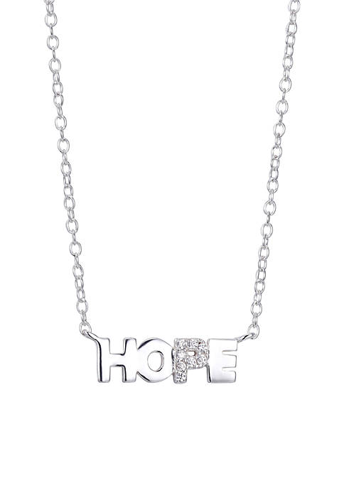 Sterling Silver Hope Block Letter Necklace