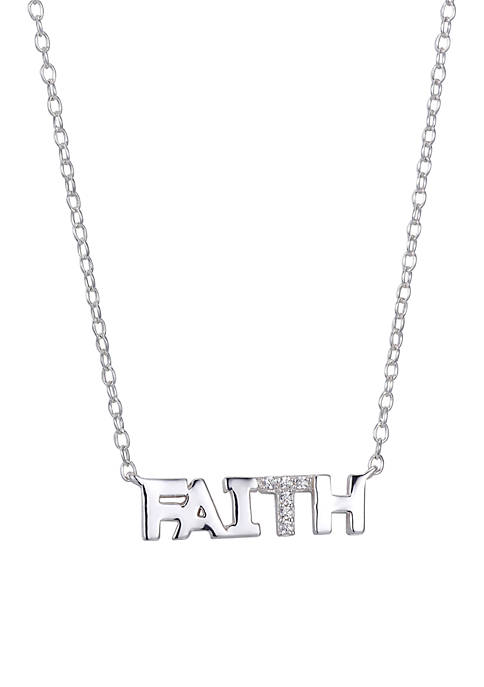 Sterling Silver Faith Block Letter Cubic Zirconia Necklace