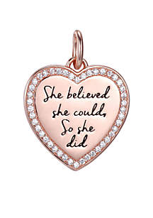 She Believed She Could, So She Did Rose Gold Crystal Heart Charm