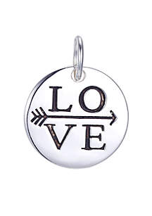 Southern Charm Sterling Silver Love Arrow Round Charm