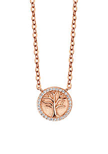 Sterling Silver Rose Gold-Tone Family Tree Cubic Zirconia Disc Necklace