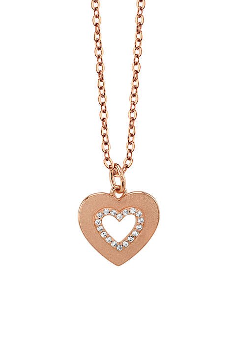 Sterling Silver Rose Gold-Tone Cubic Zirconia Open Heart Necklace