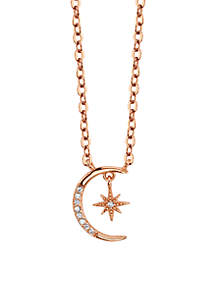 Sterling Silver Rose Gold-Tone Cubic Zirconia Moon Star Station Necklace