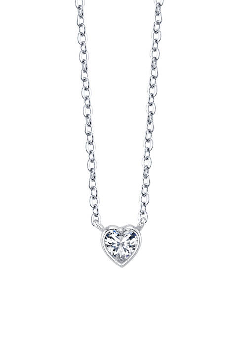 Sterling Silver Small Heart Cubic Zirconia Station Necklace