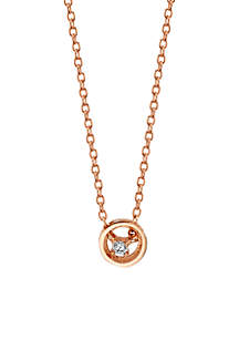 Sterling Silver Rose Gold-Tone Open Cubic Zirconia Center Necklace