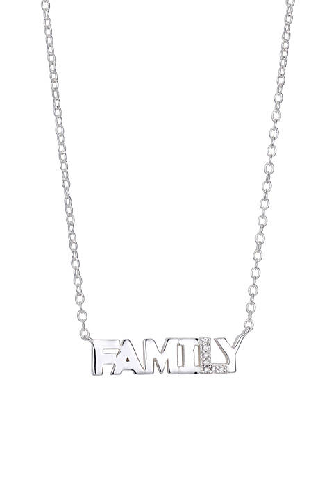 Sterling Silver Family Block Cubic Zirconia Station Necklace