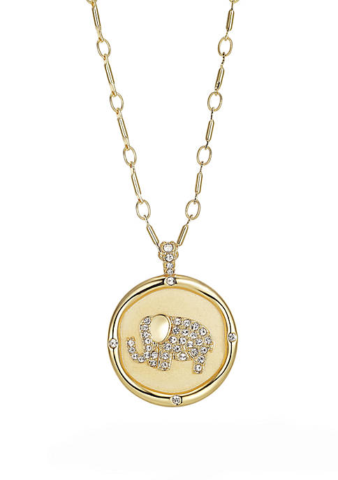 Gold Plated Stamped Cubic Zirconia Elephant Paper Link Chain Necklace