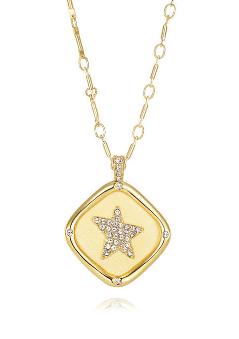 Gold Plated Stamp Cubic Zirconium Star Link Chain Necklace