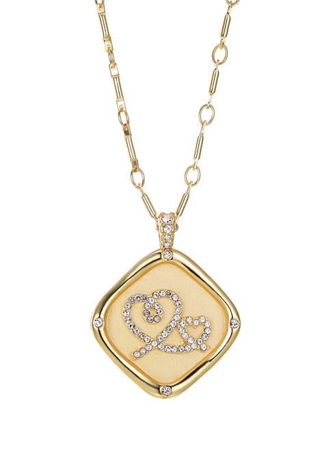 Gold Plated Stamp Cubic Zirconium Heart Duo Link Chain Necklace