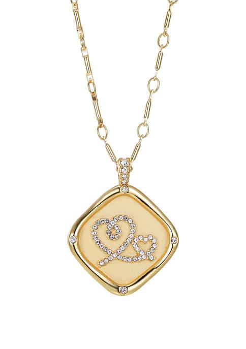 Belk Silverworks Gold Plated Stamp Cubic Zirconium Heart
