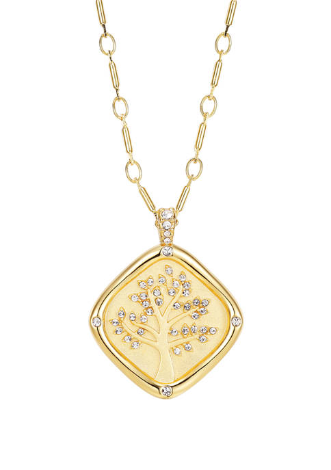 Cubic Zirconia Tree Stamp Chain Link Necklace