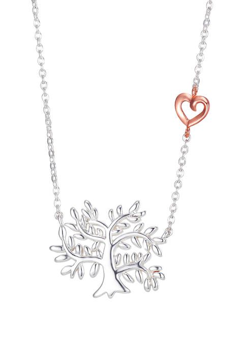 2 Tone Family Tree with Heart Accent Necklace