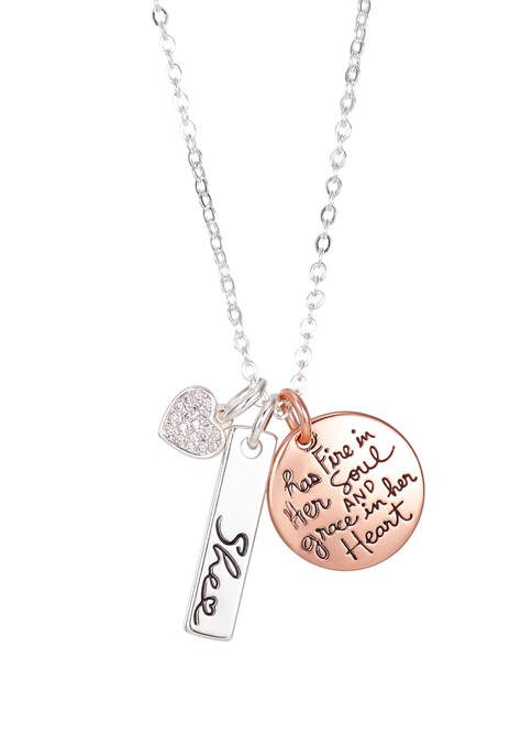 She Rocks Fire In Her Soul 2 Tone Rose Charm Necklace