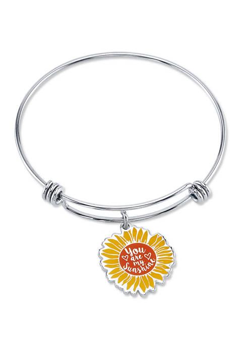 Belk Silverworks Adjustable Enamel Sunflower Bangle
