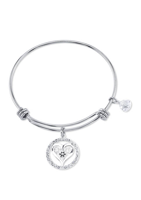 Belk Silverworks Adjustable Friendship Heart Bangle