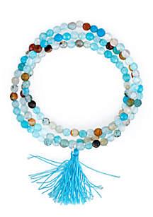 Silver-Tone Blue Beaded Tassel Triple Wrap Bracelet