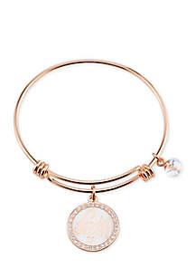Stainless Steel 0% Luck + 100% Blessed Faith Enamel Rose Gold Bangle Bracelet