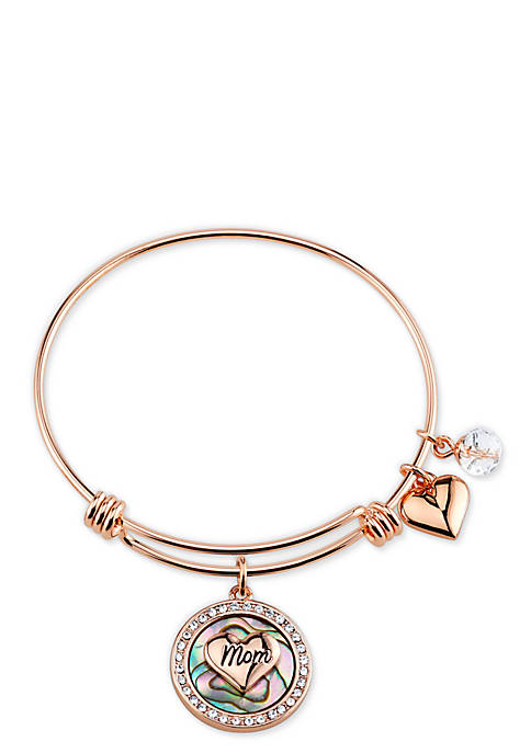 Stainless Steel First My Mother Forever My Friend Abalone Rose Gold Bangle Bracelet