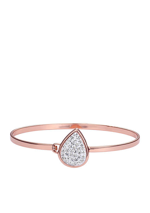 Belk Silverworks Rose Gold-Tone Crystal Tear Drop Bangle