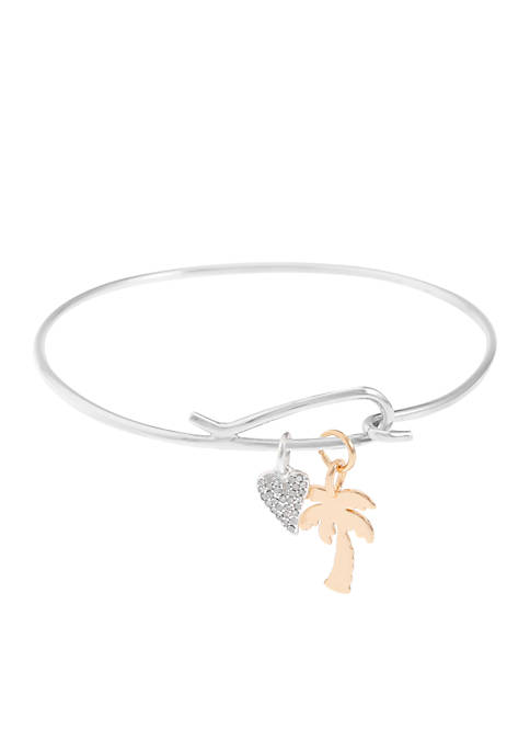 Belk Silverworks Two-Toned Crystal Heart and Palm Tree
