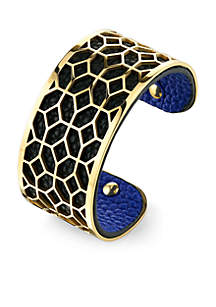 Gold-Tone Filigree Multi Design Cuff Bracelet
