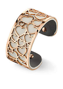 Rose Gold-Tone Filigree Multi Heart Cuff Bracelet
