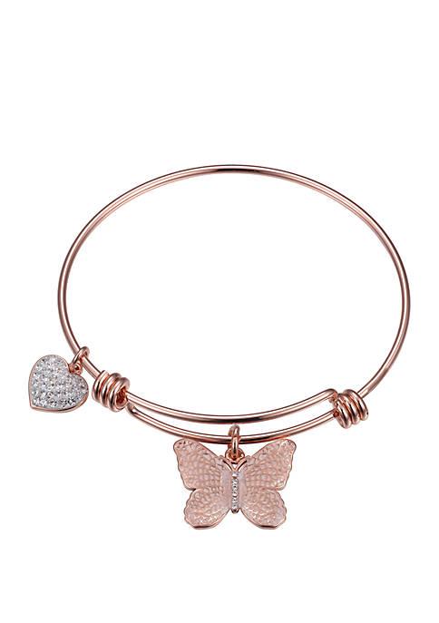Rose Gold Enamel Pink Butterfly Bangle