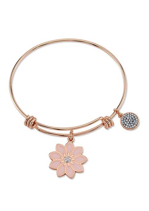 Belk Silverworks Adjustable Enamel Flower Bangle