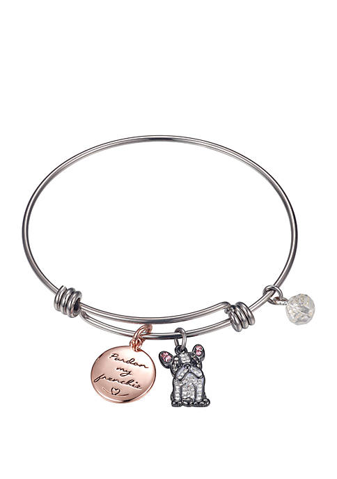 2 Tone Pardon My Frenchie Crystal Bangle Bracelet