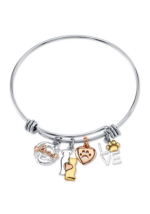 Belk Silverworks Adjustable Pet Charm Bangle Bracelet