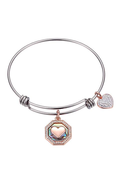 Adjustable Bangle Heart Abalone Bracelet