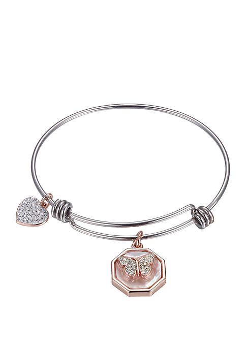 Mother-of-Pearl 2 Tone Rose-Gold Butterfly Bangle Bracelet