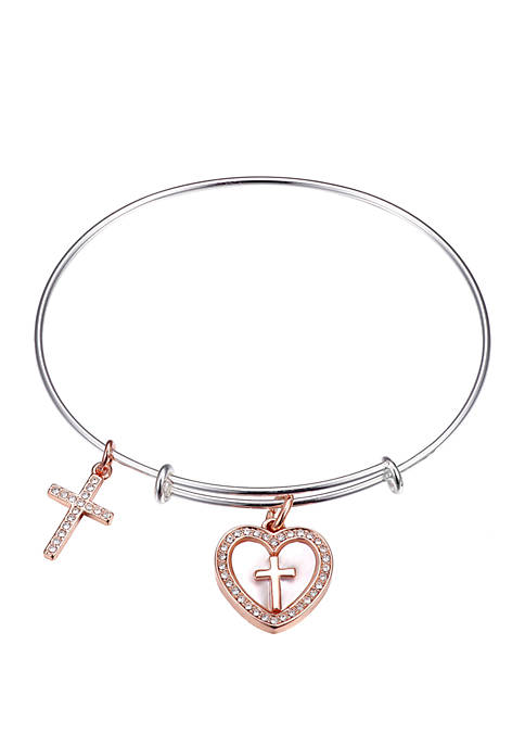 Mother-of-Pearl Two-Tone Cross Rose-Gold Tone Bangle Bracelet