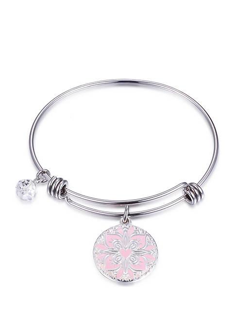 Silver Enamel Mom Bangle Bracelet